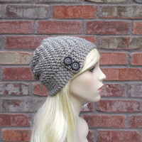Concrete Gray Slouchy Beanie with Buttons