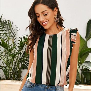 Loose Chiffon Striped Shirt Top Tee
