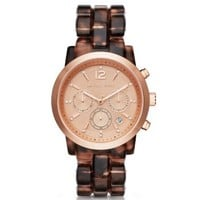 Audrina Tortoise-Acetate and Rose Gold-Tone Watch | Michael Kors