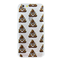Poop Emoji Collage Dense Soft Silicone TPU Clear Transparent Phone Back Case Cover for iPhone 5 5s 6 6s 7 7 Plus
