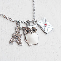 eiffel tower necklace,owl pendant,silver envelope love letter,french gift,i romantic gift,valentines gift,bridesmaid necklace,paris necklace