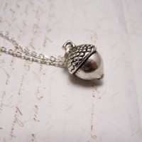 Acorn Necklace in Pewter. Peter Pan. Wendy. Kiss.