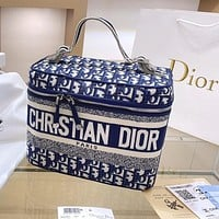 DIOR Hot Sale Knitted Embroidered Letters Color Block Women's Box Handbag Shopping Shoulder Bag