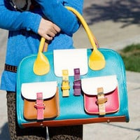 YESSTYLE: 19th Street- Color-Block Pocket-Accent Satchel (Blue & Yellow - One Size) - Free International Shipping on orders over $150