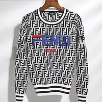 FENDI Classic Popular Women Embroidery Long Sleeve Round Collar Sweater Pullover Top Sweatshirt I/A