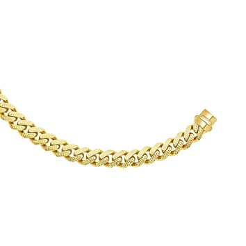 """14k Yellow Gold Miami Cuban Link Pave Chain Necklace, Width 13.5mm, 24"""""""