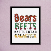 The Office TV Show Hand Lettered Quote Print | Bears Beets Battlestar Galactica | Jim Halpert The Office Quote | What Dwight Schrute Likes