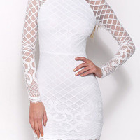 White Long Sleeve Bodycon Dress with Lace Sleeve Design