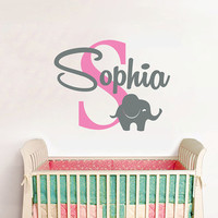 Childrens Name Elephant Wall Decal - Name Wall Decal - Baby Girls Nursery Wall Decal - Personalized Name Decal - Elephant Wall Decals AN620