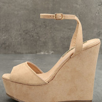 Nahele Nude Suede Ankle Strap Wedges