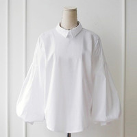 Office Puff Sleeve womens tops blouses Turn-down Collar Pearl Button shirt women white