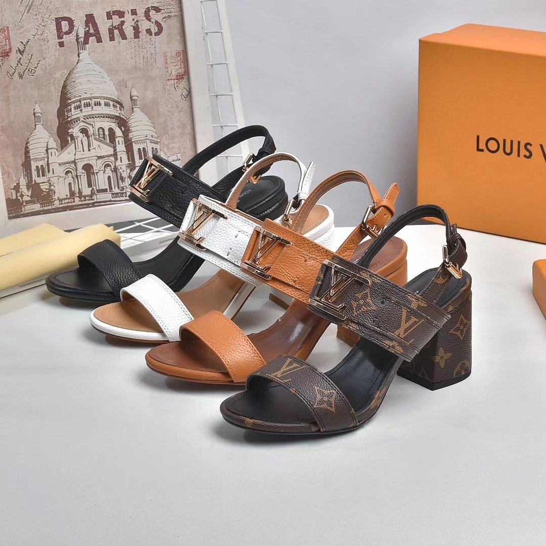 Image of LV Louis Vuitton Women's Leather High-heeled Sandals Shoes