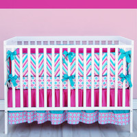 Lila Chevron Girl Baby Bedding - 3 Piece Crib Set