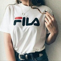 Fashion FILA Hot Sale Short Sleeve Tee Shirt Top White