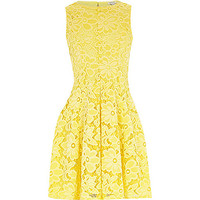 River Island Girls yellow lace floral dress