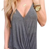 Gray Strappy Tank Top