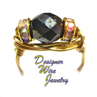 DWJ0557 Elegant Faceted Hematite Gemstone Gold Wire Wrap Ring All Sizes