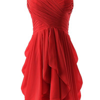 Red Ruched Sweetheart Neckline Pleated Mini Dress