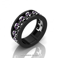 Mens Modern 14K Black and White Gold Amethyst Skull Channel Cluster Wedding Ring R913-14KBWGAM