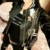 Louis Vuitton All-match Women Casual Long Sleeve  Embroidery Vest Jacket