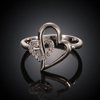 Heart In Heart White Gold Plated Ring