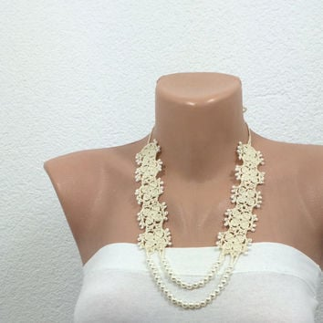 Statement Necklace, Gift For Her, Layering Necklace, Pearl Beaded Collar, Crochet Choker, Bridal Necklace, Crochet Jewelry, Women's Gift