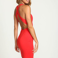 RED WRAP BACK PLUNGE BODYCON DRESS