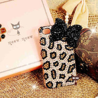 Bling iPhone case - iPhone 4 case - iPhone 4s Case - Black Diamond Bow iPhone case Unique iphone case leopard design iphone 4 cover