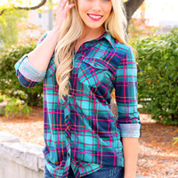 Flannel Obsession Top - Jade