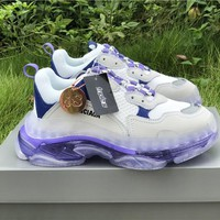 Balenciaga Triple S Clear Sole White/ Blue/ Purple Trainers Oversized Multimaterial Sneakers With Air Bubble Inside The Sole - Best Online Sale