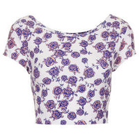 Floral Bardot Crop - Jersey Tops  - Clothing