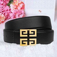 Givenchy Blet Metal Pattern Buckle Women Men Leisure Belt Width 3.8 CM With Box Black