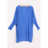 Casual Scoop Neck Batwing Sleeve Solid Color Knitting Sweater For Women