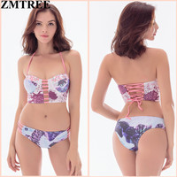 ZMTREE 2017 New Bandage Bikinis Sexy Swimwear Women Swimsuit Bathing Suit Female Halter Top Brazilian Bikini Set maillot de bain