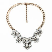 Gold metal and Intricate crystal Statement Necklace