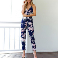 Spaghetti Strap V Neck Floral Print Rompers Womens Jumpsuit 2017 Sleeveless Sexy One Piece Outfits S