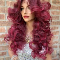 sale Fuschia Pink Red Lace Hair Wig | 4x4  Invisible Multi Parting | Electra 0519 5