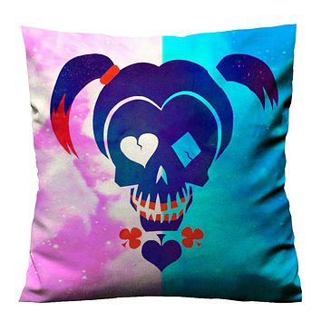 HARLEY QUINN SUICIDE SKULL Cushion Case Cover