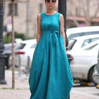 Linen dress women, Designer dress, Sexy dress, Dresses for women, Maxi dress, Summer dress, Long turquoise dress, Sleeveless dress D25318