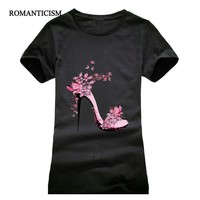High-heeled Shoes Printing T shirt Women Fashion  Summer Camisetas Women T-Shirt Streetwear Cotton top tees red black grey