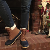Navy and Brown Duck Boots