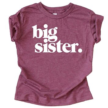 Bold Big Sister Colorful Sibling Reveal Announcement T-Shirt for Baby and Toddler Girls Sibling Outfits