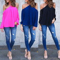 autumn spring Summer Style Halter Neck Bowknot Shirts Elegant Women Blusas Sexy Off Shoulder Blouses Casual Slim Chiffon Tops