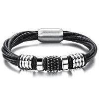 Silver  & Black Stainless Steel and Leather Unisex Bracelet