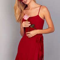 Love's Young Dream Red Wrap Dress