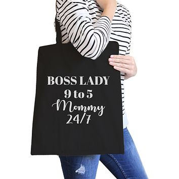 Boss Lady Mommy Black Canvas Bag Funny Gift Ideas For Bossy Moms