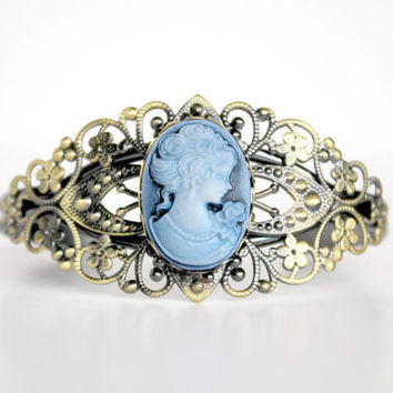 Antique Gold and Matte Blue Lady Cameo Cuff Bracelet - Neo-Victorian Inspired Jewelry - Downton Abbey Gift Idea - Ready to Ship