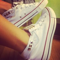 Custom Studded White Converse All Star High Tops - Chuck Taylors - ALL SIZES & COLORS!