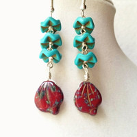 Zigzag Turquoise Howlite Discs & Maroon Picasso Czech Glass Petal Long Beaded Boho Earrings