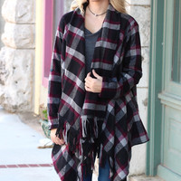 Winter Escape Plaid + Fringe Hem Cardigan {Black Mix}